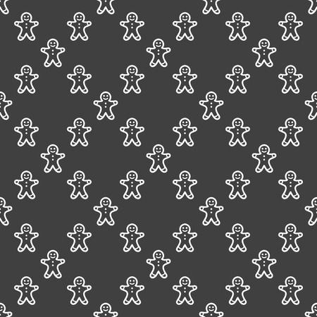 gingerbreadman: Gingerbread web icon flat design. Seamless gray pattern.