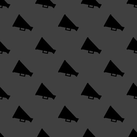 loudhailer: Meg�fono, icono web meg�fono. dise�o plano. Seamless patr�n gris.
