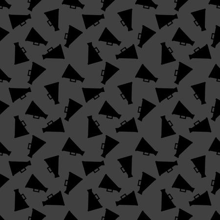 loudhailer: Megaphone, Loud-hailer web icon. flat design. Seamless gray pattern.