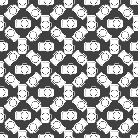 Photo camera web icon flat design. Seamless gray pattern. photo