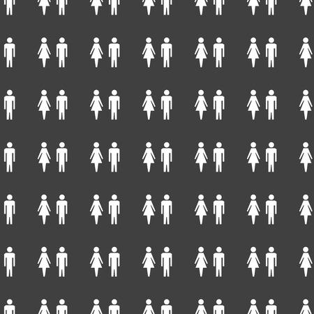 mannen en vrouwen: suluet mannen, vrouwen web pictogram plat ontwerp. Naadloos grijs patroon. Stockfoto
