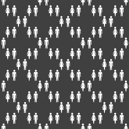 mannen en vrouwen: suluet men, women web icon flat design. Seamless gray pattern.
