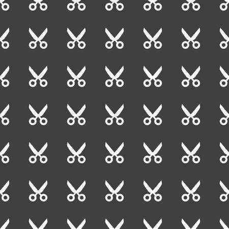 Scissors web icon flat design. Seamless pattern.