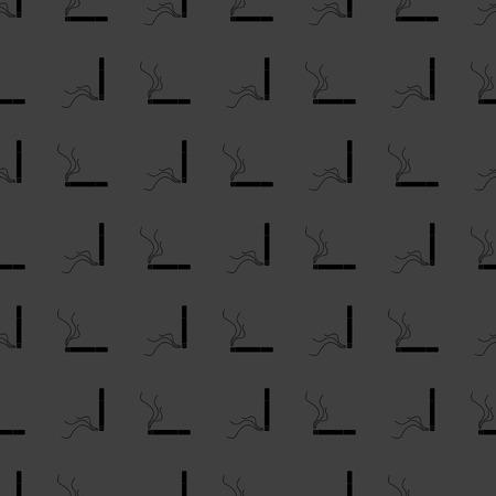 interdiction: Smoking sign. cigarette flat design. Seamless gray pattern.