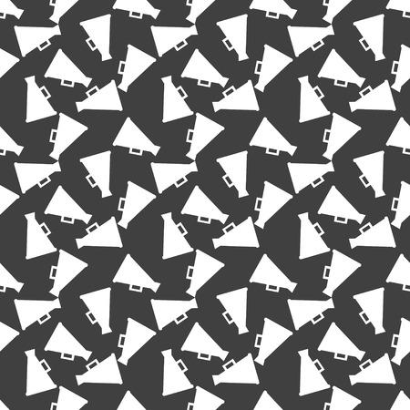 loudhailer: Megaphone, Loud-hailer web icon. flat design. Seamless gray pattern. Vector EPS10 Stock Photo