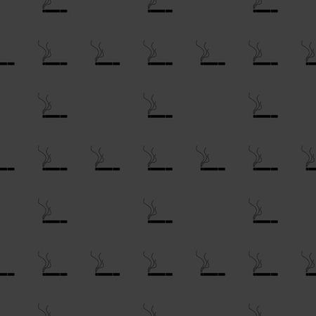 interdiction: Smoking sign. cigarette flat design. Seamless gray pattern.  Vector EPS10
