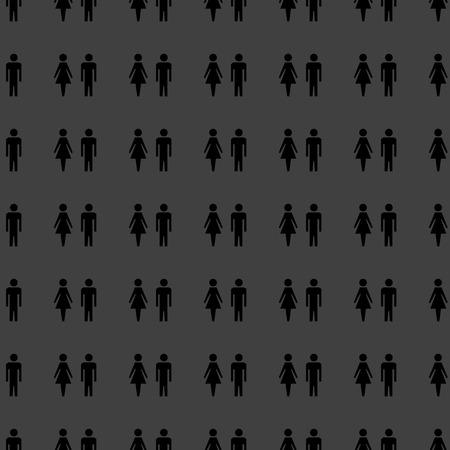 mannen en vrouwen: suluet mannen, vrouwen web pictogram. plat ontwerp. Naadloze grijs patroon. Vector EPS10 Stockfoto