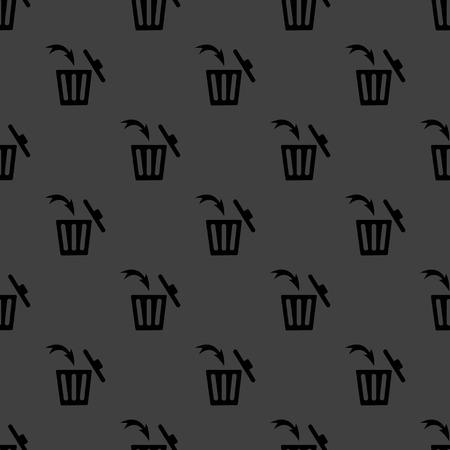 Trash bin web icon. flat design. Seamless gray pattern. Vector EPS10 photo