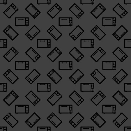 microwave. kitchen equipment web icon.  flat design. Seamless gray pattern. Vector EPS10 photo