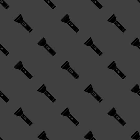 Flashlight web icon. flat design. Seamless gray pattern. Vector EPS10 photo