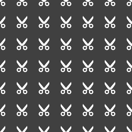 Scissors web icon. flat design. Seamless pattern. Vector EPS10 photo