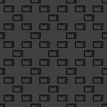 microwave. kitchen equipment web icon.  flat design. Seamless gray pattern.   photo