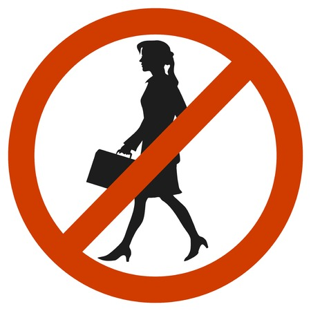 stranger: entrance and access is denied to woomen. sign symbol