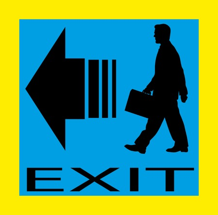 flee: Exit emergency sign door with human figure, label, icon.