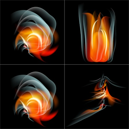 saturated color: Set Burn flame fire vector abstract background with place for your text