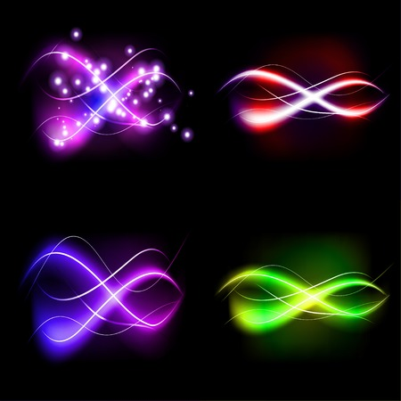 set illustration of colorful abstract background blurred magic neon light curved lines with place for your text Vector