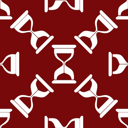 metering: Sand clock Glass timer web icon. flat design. Seamless gray pattern.