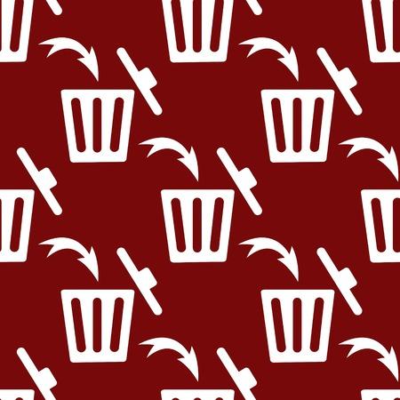 Trash bin web icon. flat design. Seamless gray pattern. photo