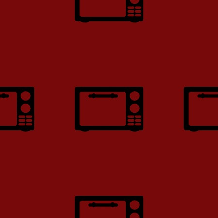 microwave. kitchen equipment web icon flat design. Seamless gray pattern. photo