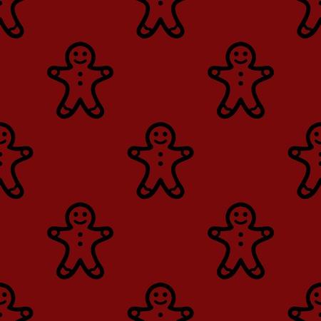 Gingerbread web icon. flat design. Seamless gray pattern.