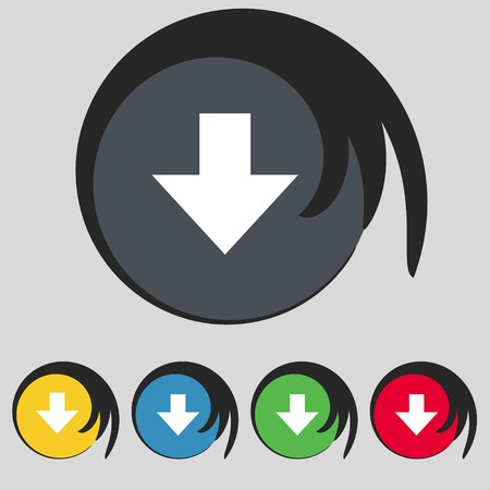 downloading: Download sign. Downloading flat icon.  Illustration