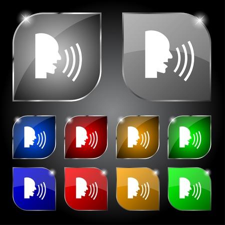 aloud: Talking Flat modern web icon.  Illustration