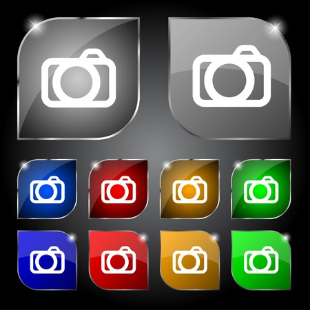 Photo camera sign icon.   Vector