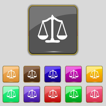 Scales of Justice sign icon. Court law symbol. Set colourful buttons. Vector illustration Vector