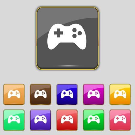 Joystick sign icon. Video game symbol. Set colourful buttons. Vector illustration Vector