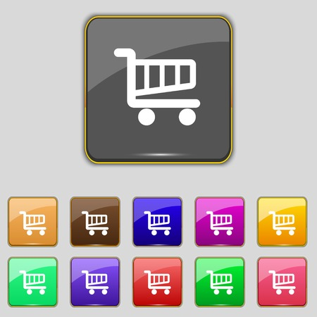 Shopping Cart sign icon. Online buying button. Set colourful buttons. Vector illustration Vector