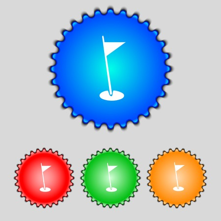 golfball: flag hole sign icon. Sport symbol. Set colour buttons. Vector illustration