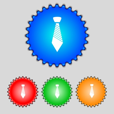 official wear: Tie sign icon. Business clothes symbol. Set colourful buttons. Vector illustration