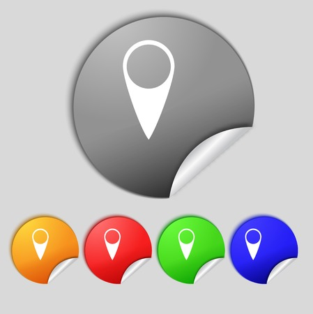 Map pointer icon. GPS location symbol. Set colourful buttons. Vector illustration Vector