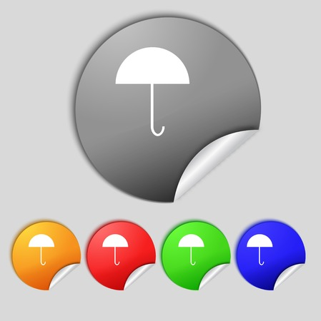 Umbrella sign icon. Rain protection symbol. Set colourful buttons. Vector illustration Vector