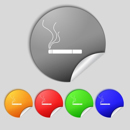 vaporizer: Smoking sign icon. Cigarette symbol. Set colourful buttons. Vector illustration