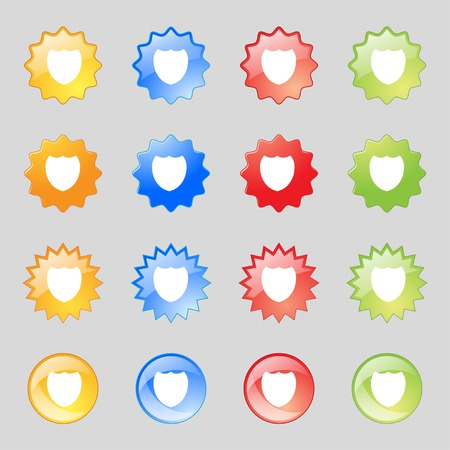 security token: Shield sign icon. Protection symbol. Set colour buttons. Vector illustration Illustration