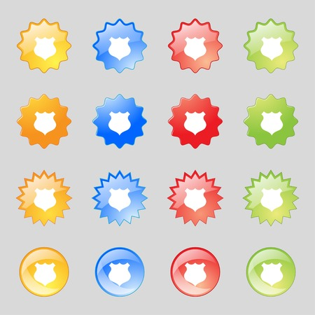 security token: Shield sign icon. Protection symbol. Set colourful buttons. Vector illustration Illustration
