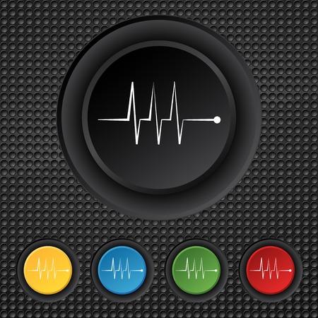 Cardiogram monitoring sign icon.   Vector