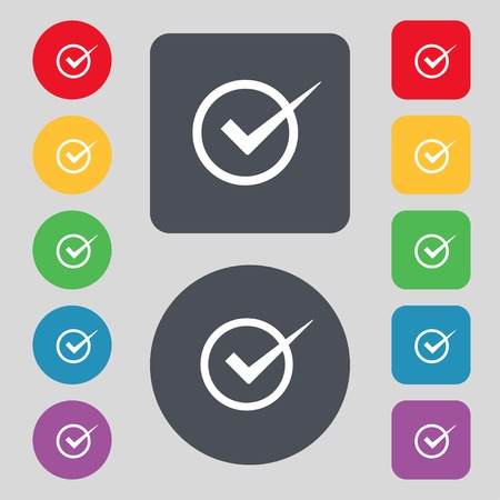 checkbox: Check mark sign icon. Checkbox button. Set colur buttons. Vector illustration Illustration