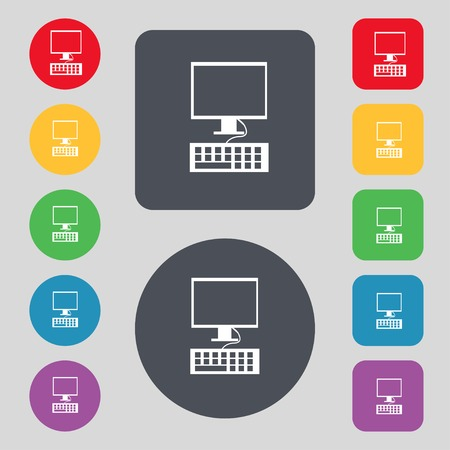 qwerty: Computer monitor and keyboard Icon. Set colourful buttons. Vector illustration