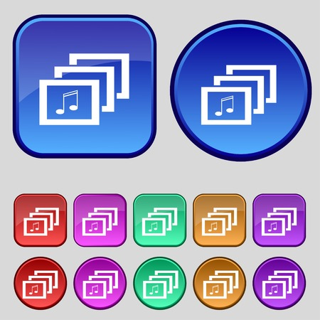 Mp3 music format sign icon. Musical symbol. Set colourful buttons. Vector illustration Vector
