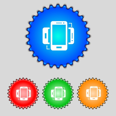 in sync: Synchronization sign icon. smartphones  sync symbol. Data exchange. Set colur buttons Vector illustration