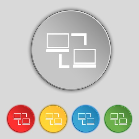 in sync: Synchronization sign icon. Notebooks sync symbol. Data exchange. Set colur buttons Vector illustration