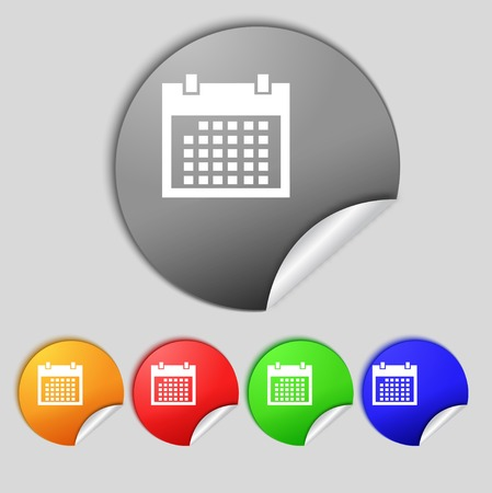 date stamp: Calendar sign icon. days month symbol. Date button Set colur buttons. Vector illustration
