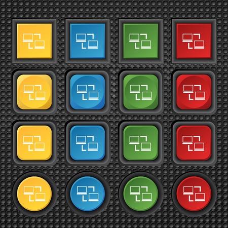 data synchronization: Synchronization sign icon. Notebooks sync symbol. Data exchange. Set colur buttons Vector illustration
