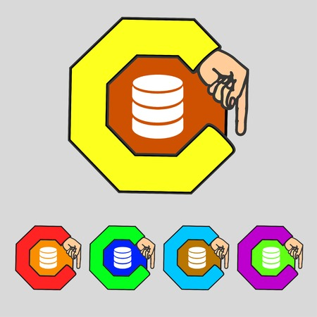 hard drive: Hard disk and database sign icon. flash drive stick symbol. Set colourful buttons. Vector illustration