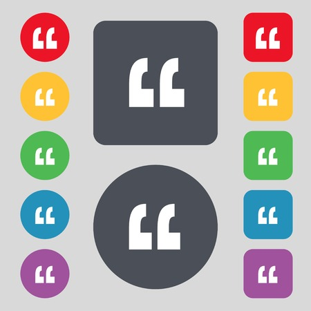 Quote sign icon. Quotation mark symbol. Double quotes at the end of words. Set colourful buttons Vector illustration Ilustração