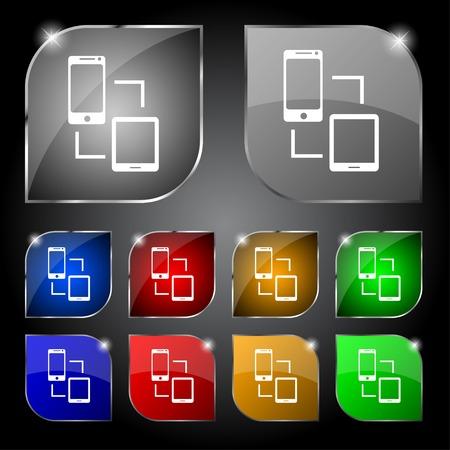 sync: Synchronization sign icon. communicators sync symbol. Data exchange. Set colur buttons Vector illustration