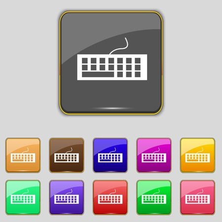 computer peripheral: Computer keyboard Icon. Set colourful buttons. Vector illustration