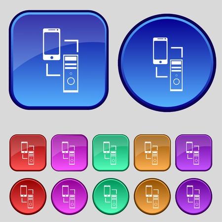 data synchronization: Synchronization sign icon. communicators sync symbol. Data exchange. Set colur buttons Vector illustration